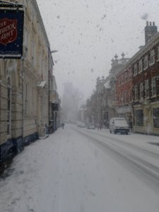 Snow in Norwich - St Giles House