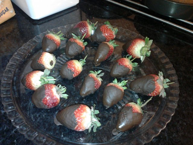 Dipped organic strawberries in chocolate