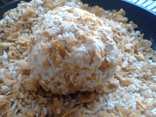 Now you can roll once into your egg mixture and then into the cornflake mixture and pop back into the freezer for at least half an hour.  Repeat this stage about four times to build up a nice outer crust.